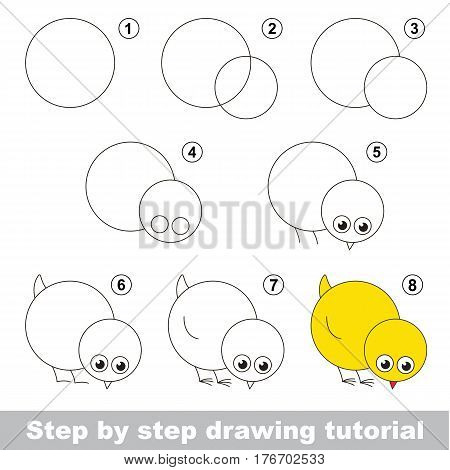 Kid education and gaming - the drawing tutorial for preschool children with easy educational kid game level, the funny drawing school. How to draw funny Chicken.