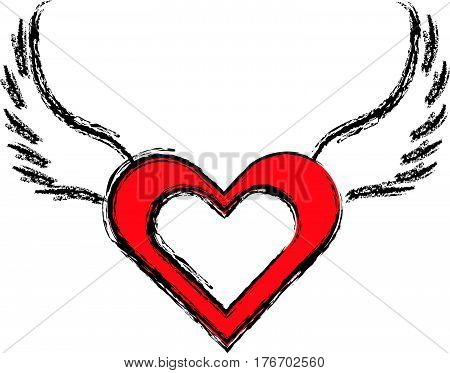 Hearts with wings on white background. vector illustration.