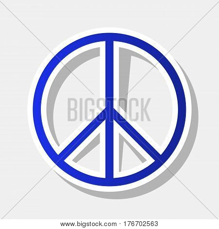 Peace sign illustration. Vector. New year bluish icon with outside stroke and gray shadow on light gray background.