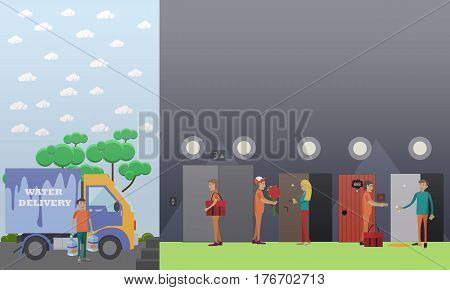 Delivery service courier vector illustration. Flower, water, food and parcel delivery men flat style design elements.
