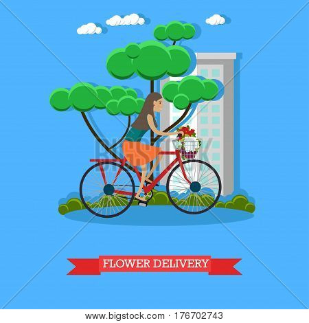 Vector illustration of delivery woman delivering bouquet of flowers by bicycle. Flower delivery courier flat style design element.
