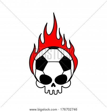 Skull Soccer Ball And Fire. Football Skeleton Head. Emblem For Sports Fans