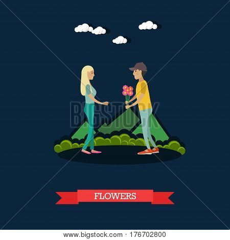 Vector illustration of happy loving couple having got a date. Young man giving bouquet of flowers to his girlfriend flat style design element.