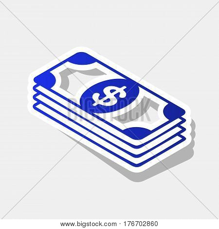 Bank Note dollar sign. Vector. New year bluish icon with outside stroke and gray shadow on light gray background.