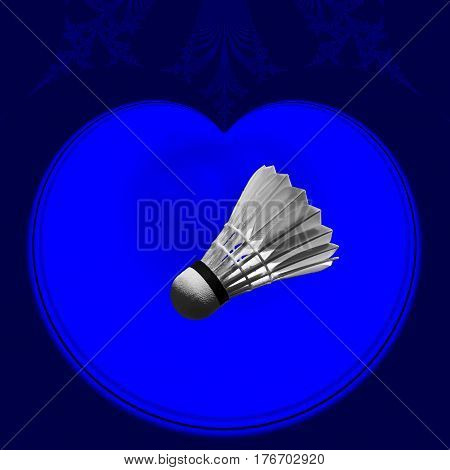 Badminton shuttlecock in a blue heart abstract artistic fractals. Digital generated graphic concept.
