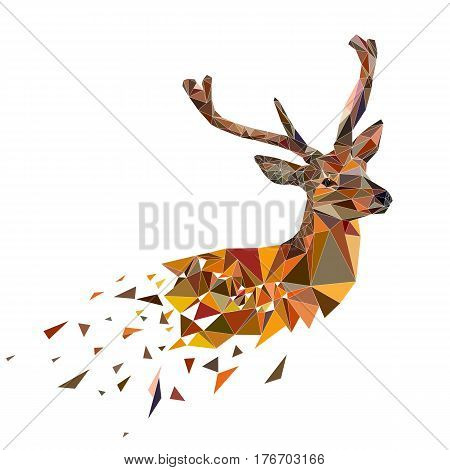 Multicolor deer head with horns. Vector illustration in polygonal style.