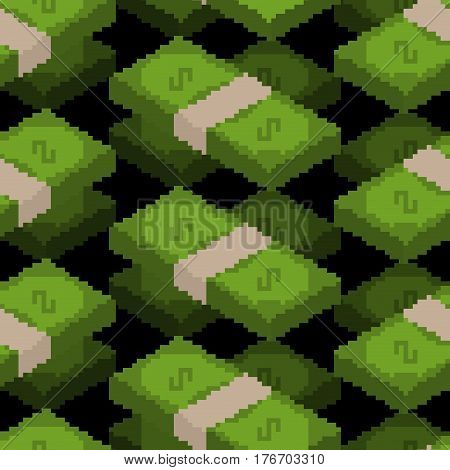 Money Pixel Art Seamless Pattern. Pixelated Cash Background. Dollars Texture