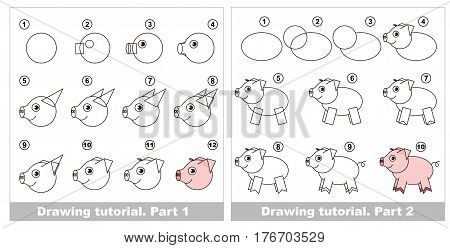 Vector kid educational game to develop drawing skill with easy game level for preschool kids education, the funny drawing kid school. Big drawing tutorial for Pig.