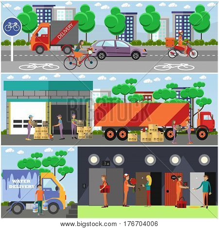 Vector set of food delivery posters, banners. Couriers delivering food by bicycle, truck and by motor scooter. Flower and water delivery. Flat style design.