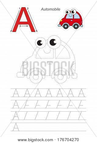 Vector illustrated worksheet. Learn handwriting. Gaming and education. Page to be traced. Easy educational kid game. Simple level. Complete eng alphabet. Tracing worksheet for letter A. Red Automobile.