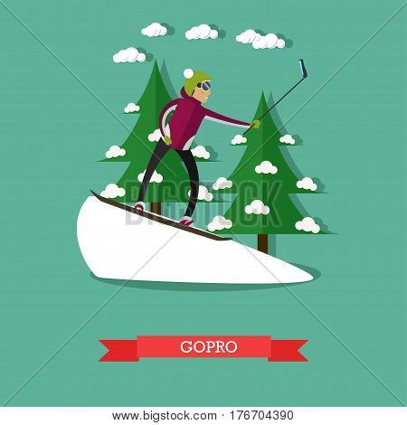 Vector illustration of snowboarder on track taking selfie with action gopro camera and gostick monopod. Flat style design.
