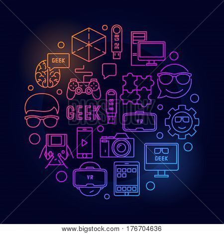 Round geek bright illustration. Vector computer nerd concept line symbol on dark background