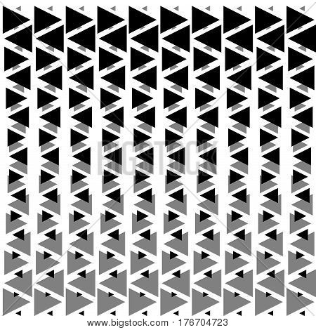 Abstract geometric hipster design print. Abstract geometric black and white graphic design print halftone triangle pattern Vector illustration stock vector.