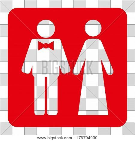 Just Married Persons rounded icon. Vector pictogram style is a flat symbol perforation in a rounded square shape, red color.