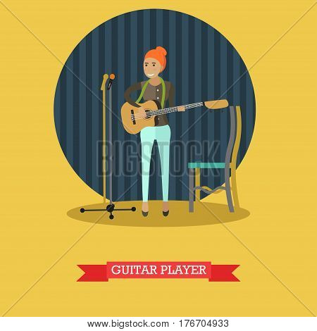 Vector illustration of musician young woman playing guitar. Guitar player with string musical instrument flat style design element.