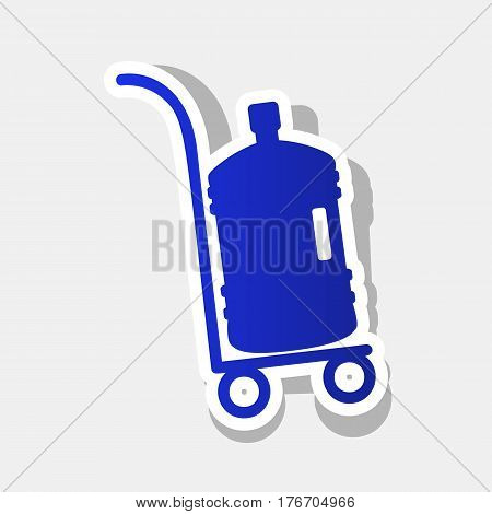 Plastic bottle silhouette with water. Big bottle of water on track. Vector. New year bluish icon with outside stroke and gray shadow on light gray background.