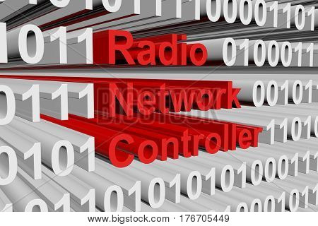 radio network controller in the form of binary code, 3D illustration
