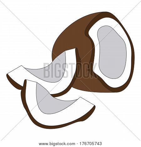 The sweet coconut cartoon. Outlined character with black stroke.