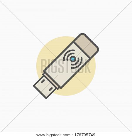 Wireless USB transmitter receiver icon - vector Wi-Fi adapter colorful creative sign or logo element