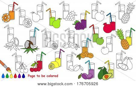 Juices set to be colored. Coloring book to educate kids. Learn colors. Visual educational game. Easy kid gaming and primary education. Simple level of difficulty. Coloring pages.