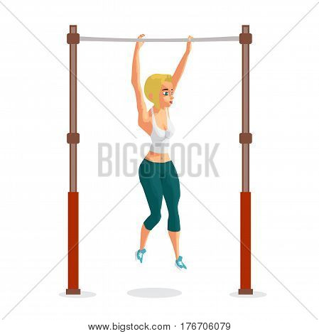 Young woman blonde in sports clothes hanging on a horizontal bar in the gym. The girl pulls up on the crossbar. Flat cartoon isolated vector illustration