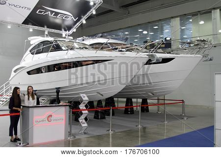 MOSCOW - MARCH 09 2017: Exhibition stand Galeon for 10 International boat show in Moscow. Russia.