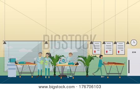 Hospital emergency care vector illustration. Hospital staff giving patients first aid to preserve life. Emergency room flat style design elements.