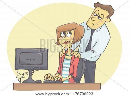 Vector cartoon illustration of man and woman flirting at work.