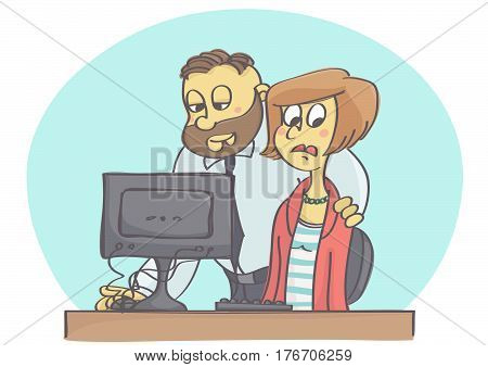 Cartoon illustration of boss or coworker harassing woman at work pretending to help.