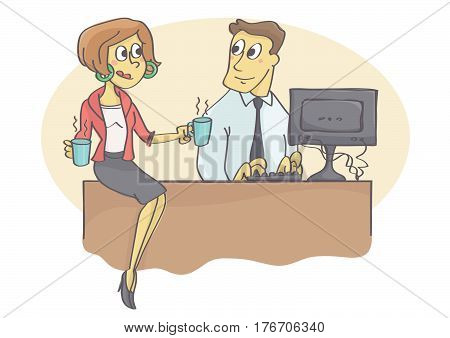 Female coworker or manager bringing coffee to male colleague and flirting.
