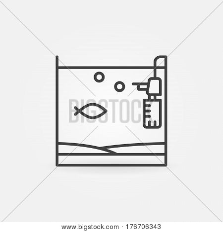 Aquarium with fish and filter icon. Vector minimal home fish tank concept symbol or logo element