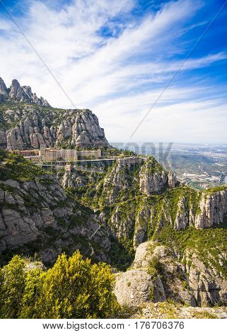 Montserrat mountains and Benedictine monastery of Santa Maria de Montserrat