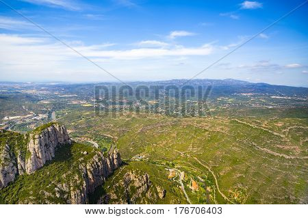 Panoramic view from Montserrat mountains Montserrat Spain