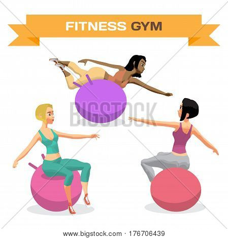 Young women is engaged on a gymnastic ball in the gym. Sporty girls exercising on stability ball. Flat cartoon isolated vector illustration