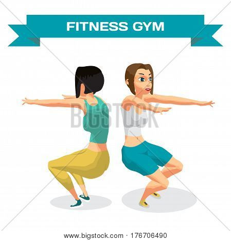 Fitness young women in sportswear performs squats in the gym. The girls squatted her arms. Flat cartoon isolated vector illustration