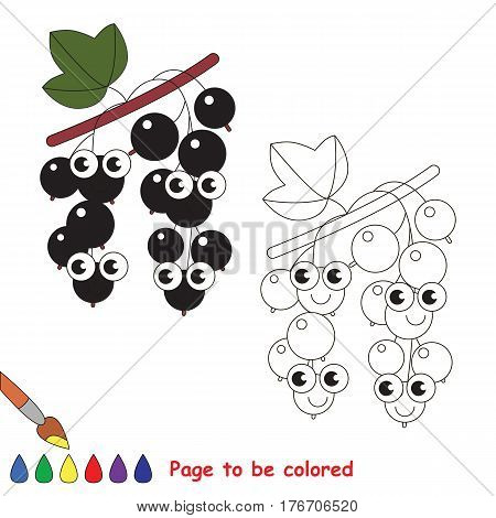 Funny blackcurrant to be colored. Coloring book to educate kids. Learn colors. Visual educational game. Easy kid gaming and primary education. Simple level of difficulty. Coloring pages.