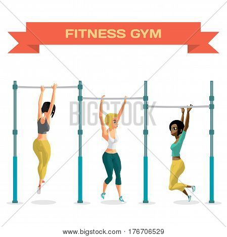 Young women in sports clothes hanging on a horizontal bar in the gym. The girls pulls up on the crossbar. Flat cartoon isolated vector illustration