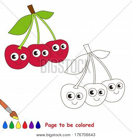 Three cute cherries to be colored. Coloring book to educate kids. Learn colors. Visual educational game. Easy kid gaming and primary education. Simple level of difficulty. Coloring pages.