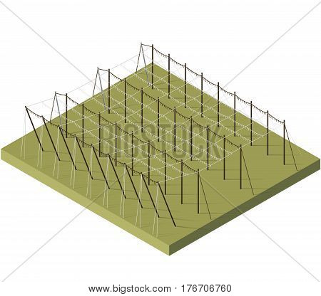 Hopgarden landscape in spring in isometric view. Construction of beams and wires for growing hops. Agriculture landscape with husbandry industry. Hop garden care constructions in rows on farm field.