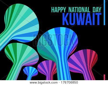 Night Time Illuminated Water Towers Landmarks Of Kuwait