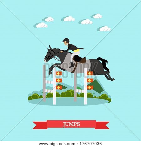 Vector illustration of gray race horse and man jockey in special clothing jumping over barrier. Jumps concept design element in flat style.