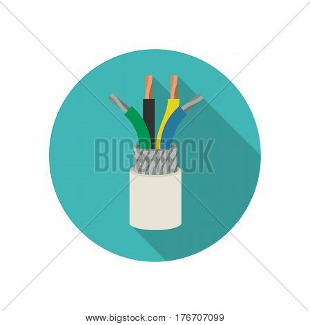 Electrical cable vector icon with long shadow.