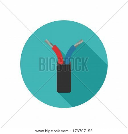 Electrical wire icon with long shadow. Vector illustration