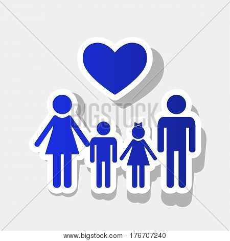 Family symbol with heart. Husband and wife are kept children's hands. Vector. New year bluish icon with outside stroke and gray shadow on light gray background.