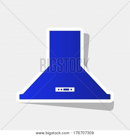 Exhaust hood. Kitchen ventilation sign. Vector. New year bluish icon with outside stroke and gray shadow on light gray background.