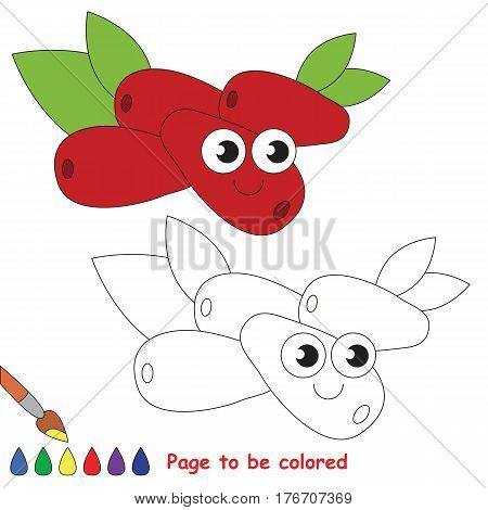 Cornel to be colored. Coloring book to educate kids. Learn colors. Visual educational game. Easy kid gaming and primary education. Simple level of difficulty. Coloring pages.