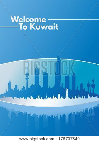 Corporate Blue Welcome To Kuwait Skyline Poster