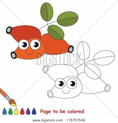 Funny dogrose to be colored. Coloring book to educate kids. Learn colors. Visual educational game. Easy kid gaming and primary education. Simple level of difficulty. Coloring pages.
