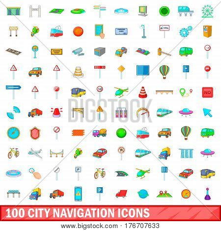 100 city icons set in cartoon style for any design vector illustration