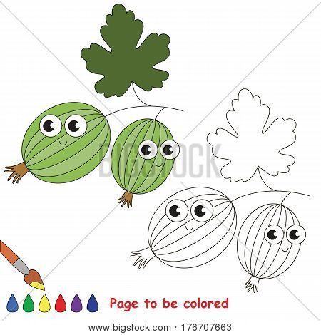 Cute gooseberry to be colored. Coloring book to educate kids. Learn colors. Visual educational game. Easy kid gaming and primary education. Simple level of difficulty. Coloring pages.